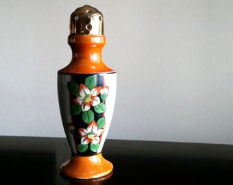 Vintage Lusterware Sugar Shaker,Muffineer, Hand painted, Gold Gilt top