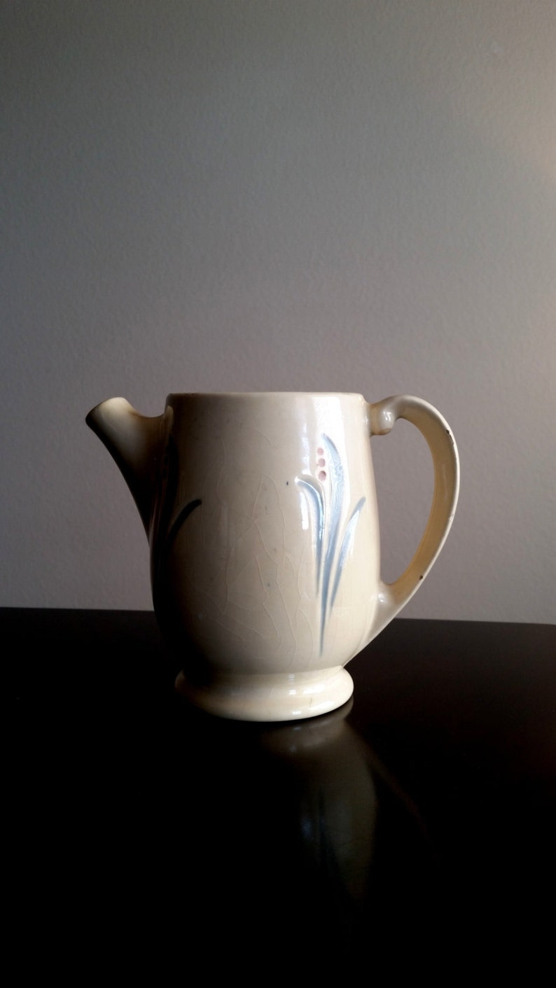 Roseville Pottery Pitcher Utility Ware RARE Ceramic Lily of image 0