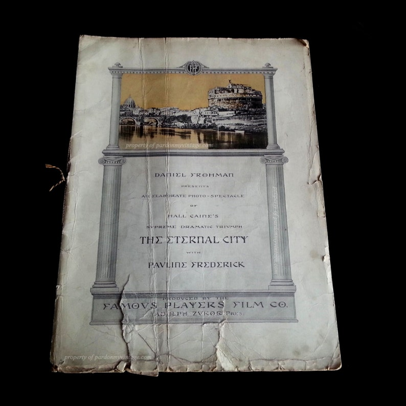 The Eternal City 1915 film Original RARE OOAK Program Lost image 0