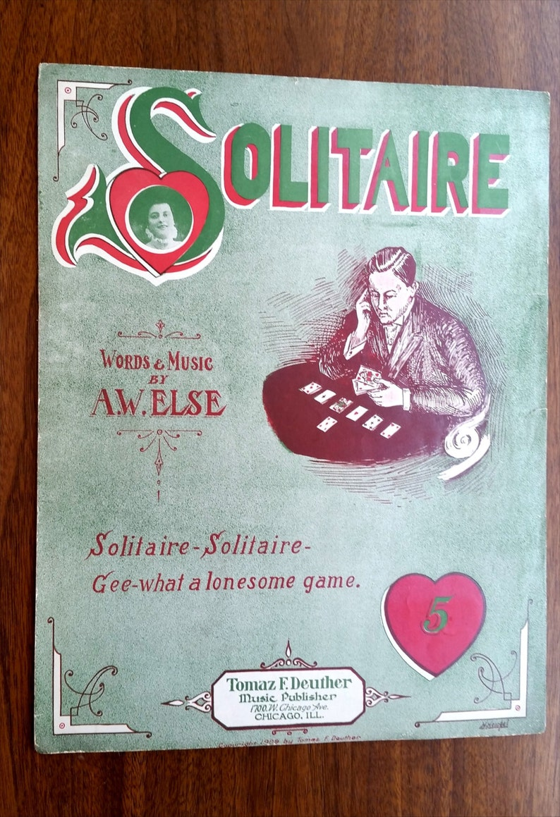 Solitaire 1909 Words and Music by A.W. Else /Thomas F. Deuther image 0