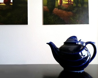 Hall Pottery Teapot Parade Cobalt Blue / Hook Lid Mid Century
