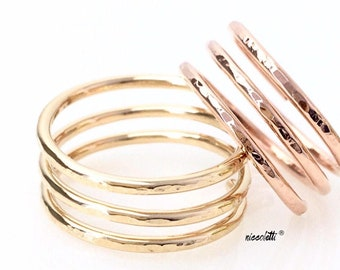Triple Band Cage Ring / Sterling Silver or 14k Gold Filled Knuckle Ring / Rose Gold Three Band Ring / Wide Profile Statement Thumb Ring