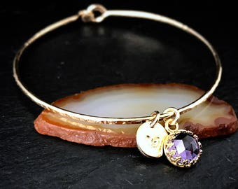 Alexandrite Charm Bracelet / Personalized June Birthstone Gift for Mom, Wife, Sister / Purple Gemstone Bangle / 14k Gold Filled Jewelry
