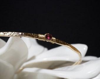Pink Tourmaline Bracelet / Dark Pink Rubellite Bangle / October Birthday Birthstone / Anniversary Gift / New Mom Push Gift