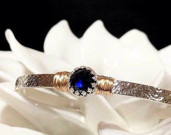 Personalized Blue Sapphire Cuff Bracelet   Engraved September Birthstone Sterling Silver Cuff or 14Kt Gold Filled Gift for Mom or Wife