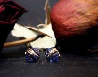 Dainty Tanzanite Stud Earrings / December Birthstone Nugget Post Earrings / Lab Grown Violet Stone Nickel Free Gift for Her