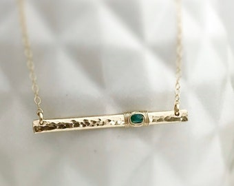 Genuine Emerald Necklace / 14k Gold Bar Necklace / May Birthstone / Natural Emerald Gemstone Bar Necklace / Gift for Her / Mom Jewelry