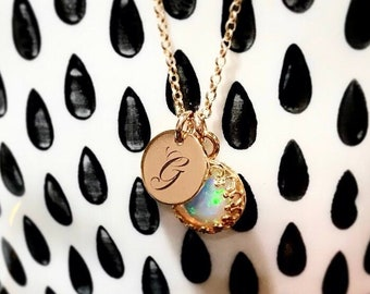Natural Welo Opal Necklace / Delicate Genuine Opal October Birthstone Necklace 14k Gold Filled or Sterling Silver 14th Anniversary Gift Wife