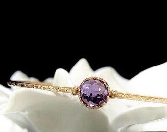 Alexandrite Bangle Bracelet / June Birthstone Jewelry / Birthday Gift for Wife, Mom, Daughter / 14k Gold Sterling Silver