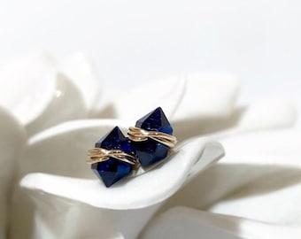 NEW Blue Sapphire Stud Earrings | September Birthstone Gift for Her | Dainty 14K Gold Filled or Sterling Silver Sapphire Herkimer Studs