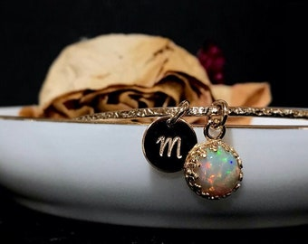 Real Opal Charm Bangle Bracelet / October Personalized Engraved Birthstone Gift / Sterling Silver, 14k Gold Fill GENUINE Ethiopian Welo Opal