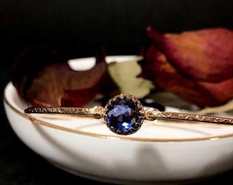 December Birthstone Bangle Bracelet / Lab Created Tanzanite Jewelry 14K Gold Filled or Sterling Silver Violet Gemstone Bracelet For Her
