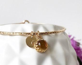 Genuine Citrine Charm Bangle / November Birthstone Bracelet  / Engraved Gemstone Jewelry / November Birthday Gift for Mom / Mothers Jewelry