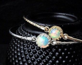 Genuine Opal Bangle Bracelet / Natural Ethiopian Welo Opal October Birthstone Gift for Her / 925 Sterling or 14K Gold Filled Libra Jewelry