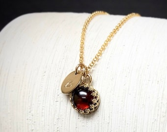 Genuine Garnet Pendant Necklace / January Birthstone Personalized Necklace Gift for Wife / 14k Yellow Gold Fill January Birthday Mom Gift