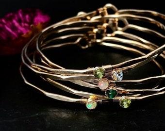 Custom Birthstone Bangle Bracelet / Mothers Gemstone Bangle / Anniversary Birthstone Gift for Her / Custom Heirloom Bracelet Push Gift