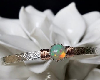 Engraved Ethiopian Welo Opal Cuff Bracelet October Birthstone / 14th Anniversary Gift Wife / Genuine Opal Sterling Silver or 14k Yellow GF