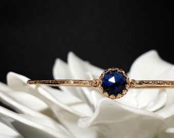 Blue Sapphire Bracelet / Sterling Silver or 14k Gold Fill Sapphire Bangle / September Birthstone Gift for Her / Mothers Jewelry Push Gift