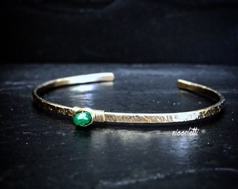 Colombian Emerald Skinny Cuff / Sterling Silver or 14k Gold Fill Cuff / May Birthstone Jewelry / Gift for Mom / Mothers Jewelry / Emerald