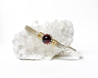 Red Garnet Cuff Bracelet / January Birthstone Gift for Wife / Genuine Mozambique Garnet Sterling Silver Cuff or 14k Gold Filled