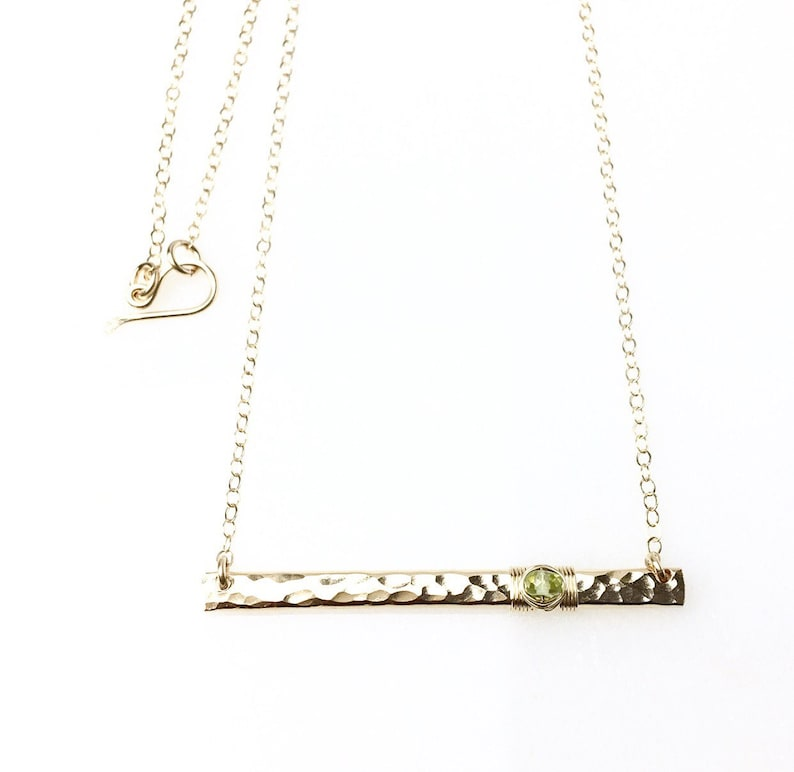 Genuine Peridot Necklace  14k Gold Bar Necklace  August Birthstone Jewelry  Peridot Bar Necklace Gift for Mom  Bridesmaid or Graduation
