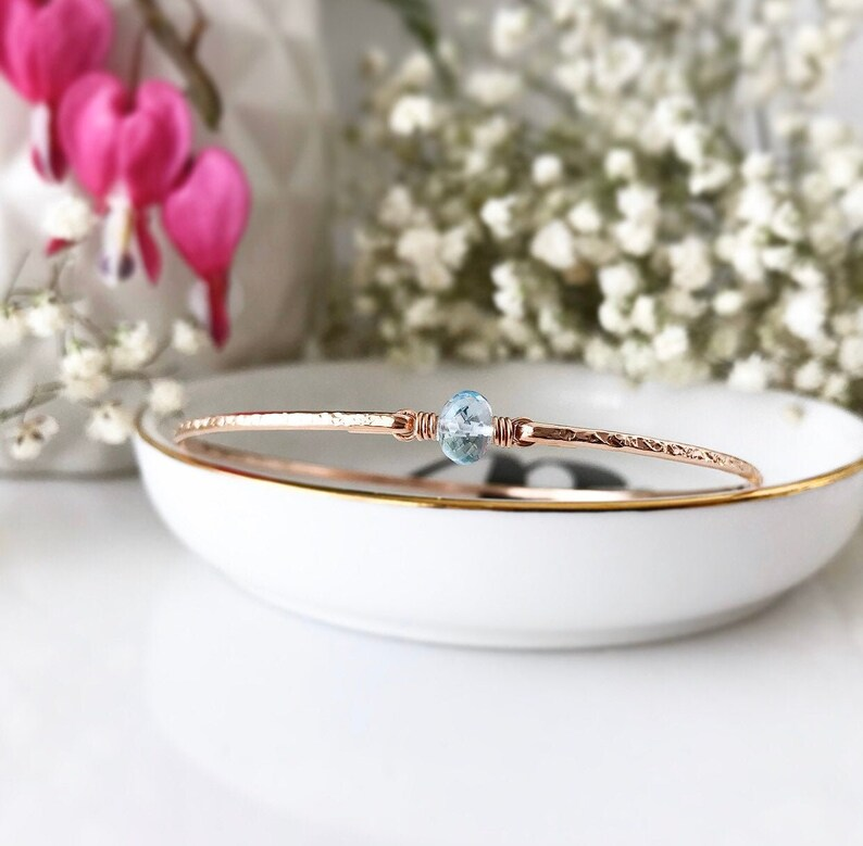 Floating Blue Topaz Bangle  Sterling Silver or 14k Gold Fill Bracelet  December Birthstone Gift  Mothers Jewelry Push Gift  Scorpio