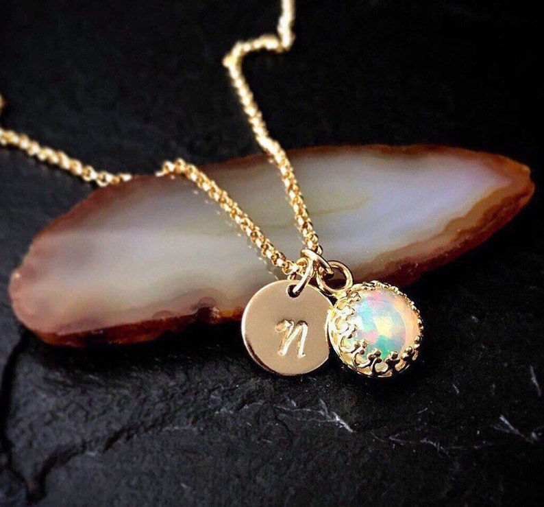 147e5e8f96fef Genuine Opal Necklace / Natural Welo Opal October Birthstone Necklace 14k  Gold Filled or Sterling Silver / Libra Birthstone Delicate Jewelry