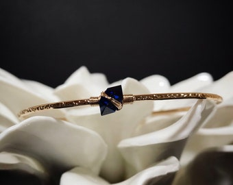 NEW Blue Sapphire Bangle Bracelet for Her / September Birthstone and 5th Anniversary Gift for Wife / 14K Gold Filled or Sterling Silver