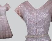 Vintage 1950s 50s Dusty Rose Lace Fit Flare Party Dress w Ribbon Trim 31 quot Waist