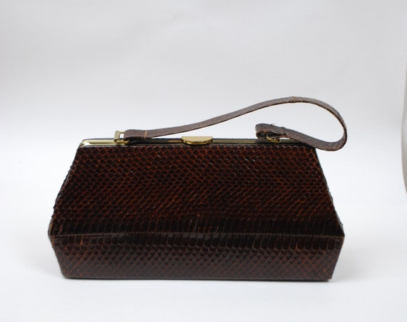 Vintage 1940s 1950s Brown Snakeskin Purse / 40s 50