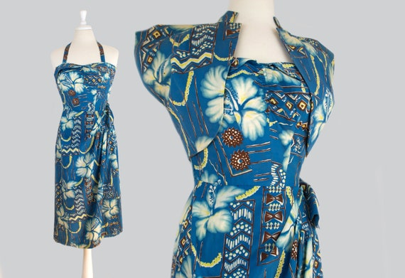 Paradise 1952 Vintage Cotton Sarong Hawaiian Dress