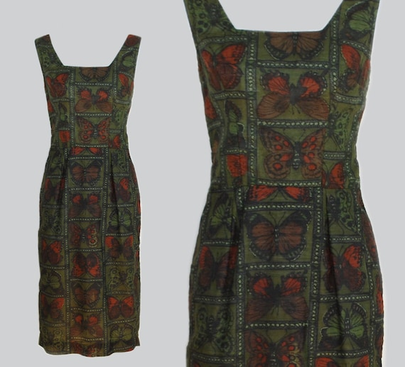 Vintage 1950s Cotton Sheath Novelty Print Dress /