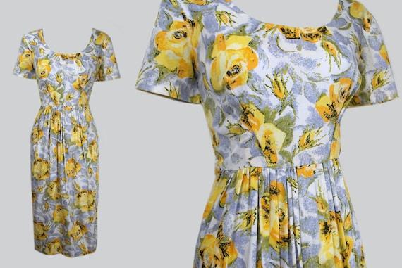 Vintage 1950s Cotton Yellow Rose Print Dress / 50s