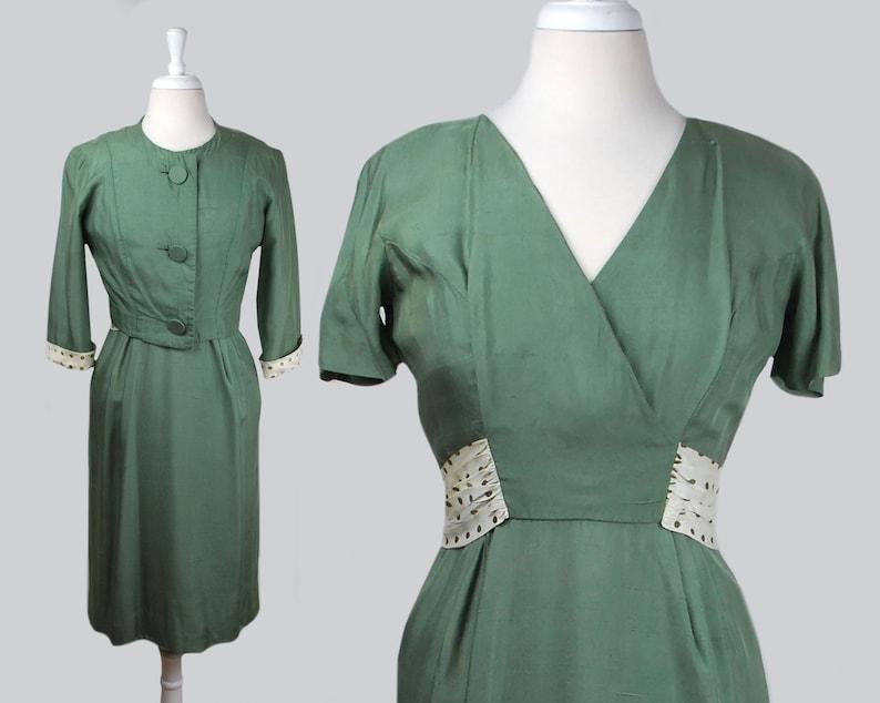 be72f1a03f2 Vintage 1950s Green Silk Sheath Dress   50s Silk Polka Dot
