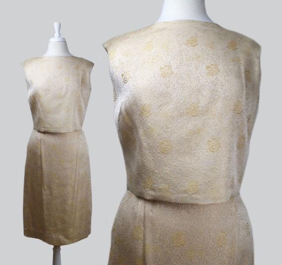 Vintage Early 1960s Gold Floral Brocade Skirt Set