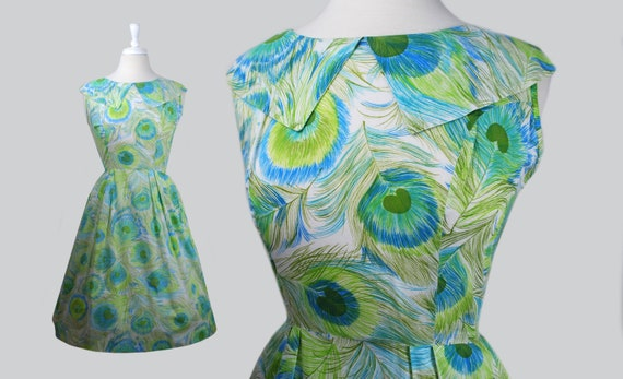 """Vintage 1950s 50s """"Coquette"""" Novelty Print Peacock"""