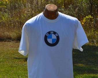476374f5ba9f Vintage 90s BMW White T Shirt Lifestyle Made in USA Motor Car Advertising bmw  white blue black logo T Shirt Vintage Car T Shirt XL bmw Tee