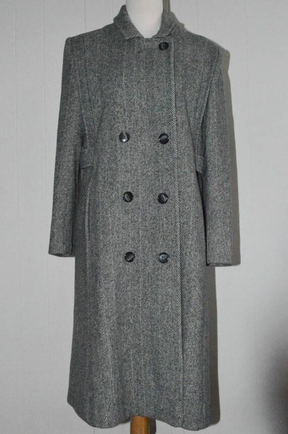 in Auto langen Wollmantel edle Mode grau hergestellt für Vintage schwarz weiß kleine Fischgrät schwarzen USA Mantel Mantel gestreiften Frauen CxBoWred
