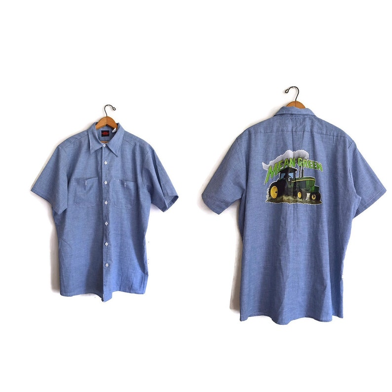 Vintage 1980s Blue Shirt Large with Roach Iron on Big Ben Shirt Mean Green Tractor Iron On 80s Short Sleeve