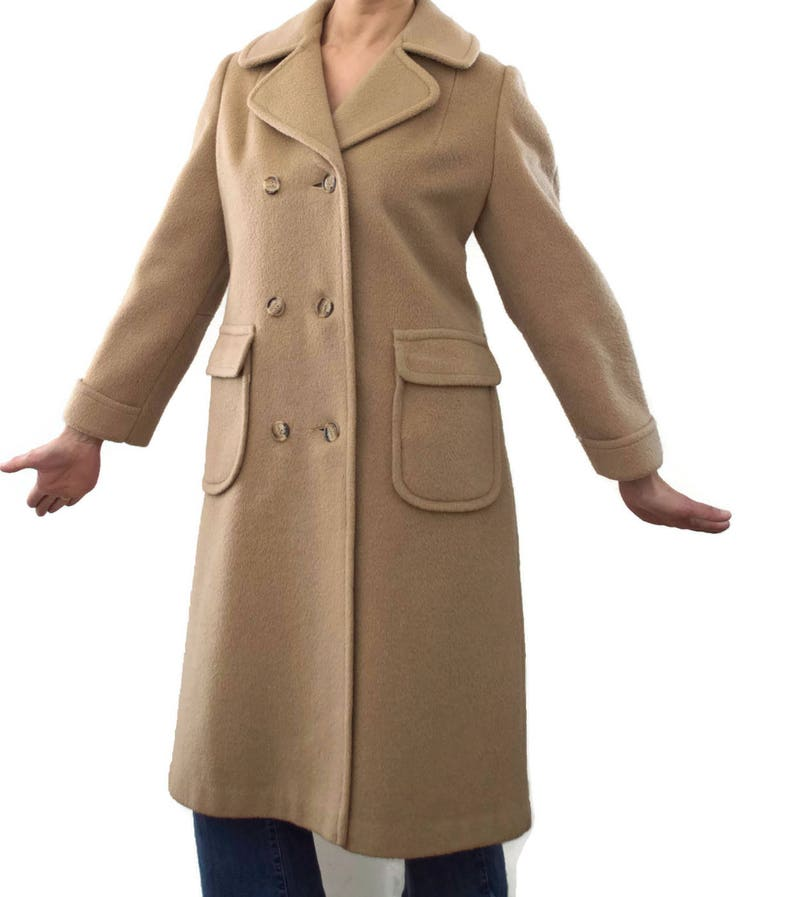 bcabb227486e7 Vintage 80s 90s Wool Coat Tan Warren of Stafford Small 4-6