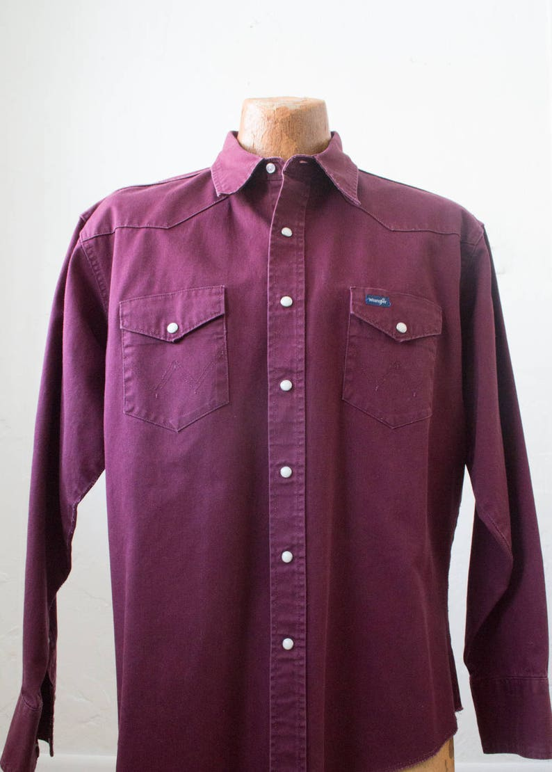 1c2320ce4da Vintage Wrangler Shirt Burgundy Red Denim 1990s XL Western