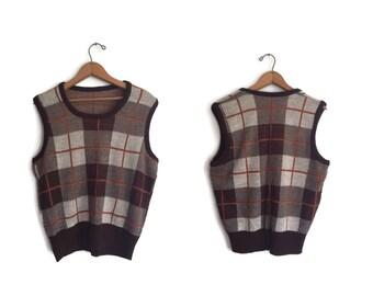 Vintage Acrylic Vest Medium Brown Beige Sweater Vest Pullover Checks and Stripes Vintage 90s Vest