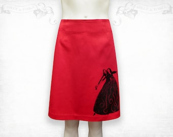 Ridiculous Wishes stretch cotton skirt ~Red