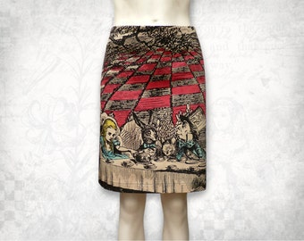 Alice in Wonderland Mad Tea party stretch cotton skirt short Colour