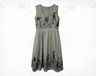 Penny Farthing  screenprinted Cotton Dress Grey