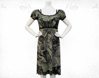Coronation screenprinted Mesh dress sage green