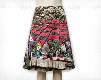 Alice in Wonderland Mad Tea Party cotton flared skirt Colour