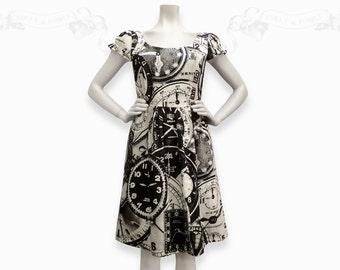 Clocks~ Puff sleeve screenprinted Cotton Dress