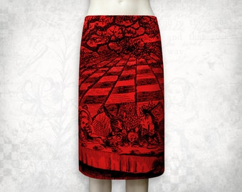 Alice in Wonderland Mad Tea party stretch cotton skirt Red