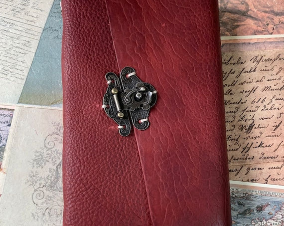 Red Bison Leather Journal, Antique Color Paper, Vintage Journaling, Travel Journal, Art Journal, Sketch Book 6 x 9 inches